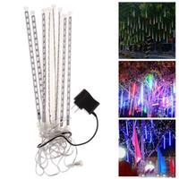 pluie de météores a conduit achat en gros de-8pcs set lumière de noël neige LED bandes de pluie tube de pluie 20 30 50 cm pluie de météores LED tube de lumière UE plug US