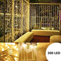 Wholesale fairy birthday cards - 3M X 3M 300 LED Lights Wedding Christmas String Birthday Party Outdoor Home Warm White Decorative Fairy Curtain Garlands