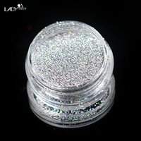 Wholesale Sparkly Nail Tips - Wholesale- Lady Finger 1X New Acrylic UV Nail Art Glitter Powder Dust Tips Decoration Laser Sparkly Silver Makeup Glitter Art Tips DecorL03