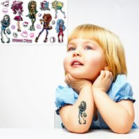 Wholesale Party Eye Tatoo Stickers - Wholesale- Monster High Phantom Child Love Temporary Body Art Toy, Flash Tattoo Sticker 17*10cm, Waterproof Henna Tatoo Birthday Party Gift