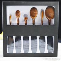Wholesale Gold Toothbrush - MC Eyeshadow Brushes Set 6pcs maConcealer Blush Glow Kit Oval Blending Brush Mermaid Toothbrush Foundation Powder Gold Handle Makeup Brush