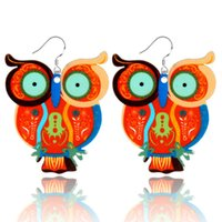 owl woman painting - hot cute gift animal pendant earrings acrylic painted cartoon Big eyes owl drop earrings for women jewelry