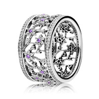 Wholesale Diy Wedding Flower - Authentic 925 Sterling Silver Ring Forget-me-not Flower With Crystal Rings Band For Women Compatible with Pandora DIY Jewelry HRAPD841