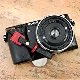 black css - Ciesta CSS FIN Leather Finger Strap Buttero Black Red for Toy Point and Shoot Digital Mirrorless Cameras