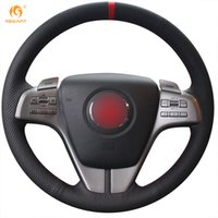 Wholesale Mazda Steering Wheel Covers - Mewant Black Genuine Leather Red Marker Car Steering Wheel Cover for Mazda 6 2009