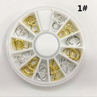 Wholesale Gold Metal Sticker Slices Wheel - 12 Models Hollow Gold Metal 3d Nail Art Stickers Tips Slice Glitter Charms Nail Tools DIY Decoration Wheel