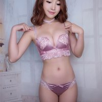 Wholesale Silk Panty Girl - silk lace young girl small underwear sets wire less push up sexy women bra and panty set side gather cotton pad ladies lingerie