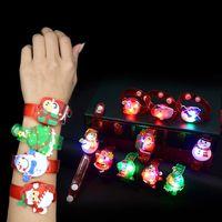 Wholesale glow boy toys resale online - Cartoon Christmas LED Night Light Party Xmas Decoration Colorful LED Watch Toy Boys Girls Flash Wrist Band Glow Luminous Bracel