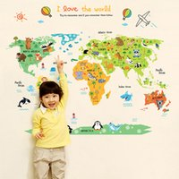 Wholesale Map Wall Art Diy - World Map Wall Art Pvc Waterproof Stickers Home Study Wall Decals Creative Style DIY Nursery Wall Stickers