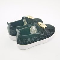 Wholesale Girls Rhinestone Shoes - Koovan Children Shoes 2017 Spring Kids Children's Baby Rhinestones Sneakers Causal Shoes Metal Head Boys Girls Sport Shoes