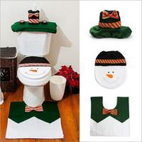 Wholesale Toilets Wholesale Prices - Wholesale-Snow man Merry Christmas Toilet Seat Cover set Navidad Rug Bathroom Set Christmas Decoration gift factory price LW0268