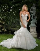 Wholesale Long Layered Skirts - layered skirt mermaid wedding dresses 2017 vestido de novia chapel train sweetheart neckline heavily embellished bodice wedding gowns