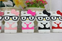Wholesale Cute Lovely Bags - IPhone5 5S 6 Accessories Parts Mobile Phone Bags Cases Fashion 3D Hello kitty Cover Cute Case Lovely Cartoon Silicone Protective Shell