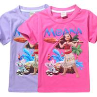 Wholesale England Tshirt - baby girls summer T-shirt moana printed children tshirt tops kids cartoon clothes girl's tees red and purple