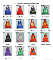 Wholesale Cartoon Super Heroes - 15 styles one-layer 70*70CM Super hero Capes and mask set Superhero cosplay capes+mask Halloween cape mask for Kids 2pcs set