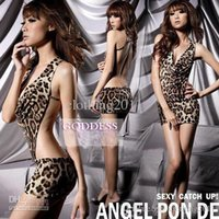 Wholesale Leopard Pants Sex - Free shipping Sexy Lingerie Sex Underwear Sexy cosplay Sexy cloth+G string( Dress + T pants) women's