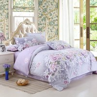 Wholesale Queen Size Comforters Sets - Wholesale- Bedding Set Purple Flowers Bed Sheet Reactive Printing Bed Linen Cotton Bedding Comforter Cover Twin Full  Queen Size 22-1