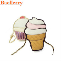 Vente en gros- 2017 Cartoon Cupcake Femmes Ice Cream Pattern Bag Lady Mini en cuir Chain Clutch Crossbody Bag Girl Shoulder Cute Messenger Bag