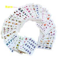 Wholesale 3d Decals For Nails - Wholesale- 55pcs 55 Designs 3d Glitter Flower Water Transfer Wraps Glitter Powder Nail Sticker Decal Salon Decorations for Beauty #BJC55