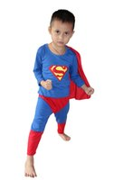 vendita al dettaglio - Halloween Party costumes Hallowmas 3 - 7 Years kid superman Play clothes / Boy superman costume Cosplay T-shirt