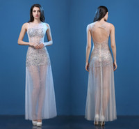 Wholesale Sexy Hand Bags - High Quality Perspective Halter Sexy Long Section Fish Tail Bag Hip Hand Bright Diamond Evening Dress Show Go Show Dress Prom Party Dresses