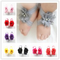 Wholesale Multi Color Crystal Shoes - Baby Footwear Barefoot sandals Chiffon Pearl crystal Flower shoes 14Color Stock baby kids shoes 100pcs=50pair hot