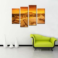 Wholesale Maya Building - 4 Pieces Maya Pyramid Painting Mexico's Building Printed on Canvas Giclee Artwork For Home Wall Decoration with Wooden Framed Ready to Hang