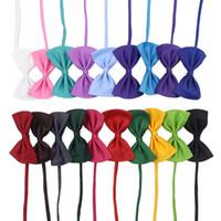 цвет собаки воротники оптовых-19 цветов галстук для животных галстук ошейник цветок аксессуары украшения Поставки Чистый цвет бантом галстук IA626