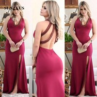 313cf45141c9 Backless Formal Gowns for Women Deep V Front Sexy Halter Evening Dresses  Dark Red Leg Slit Evening Gowns Pearls Long Party Dresses ...