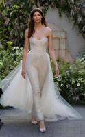 Wholesale Detachable Pants - detachable train pant suit wedding dresses 2017 Monique Lhuillier bridal lace bridal gowns with tulle over skirt wedding gowns