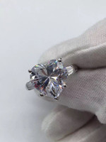 Wholesale fine jewelry diamonds - ZHF Jewelry Security Logo 100% Solid 925 Sterling Silver Rings For Women 4CT SONA CZ Diamond Engagement Wedding Ring Fine Jewelry