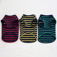 Wholesale Pretty Pet Dog Clothes - Dog Clothes For Small Dogs Summer Pet Dog Clothes Pretty Striped Dog Vest Elastic Material Cotton Puppies Vest Pet Clothing