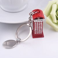 bling telephones - Bling Bling Crystal Rhinestone British Style Telephone Booth Metal Alloy Keychain Key Chain Keyring Car Keychains Handbags Pendant