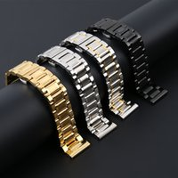 Wholesale 23mm Watch - High Quality Watch Band Womens Men 20mm 22mm 23mm Butterfly Buckle Silver Stainless Steel Watch Strap Bracelet