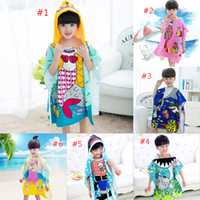 Wholesale Kids Cartoon Bathrobe - 8 styles Mermaid bathrobe Kids Robes cartoon animal shark Nightgown Children Towels Hooded bathrobes C2508