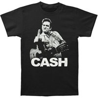 Wholesale Flip Shirt - Johnny Cash Flipping the Bird Finger Adult 2017 new High Quality 100% Cotton men's T Shirt cheap sell Free shipping