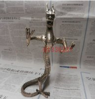 "Wholesale Chinese Carved Stand - Metal Crafts Collectible chinese Decorated Old Handwork Tibet Silver Carved Rare ""stand dragon ""statue free shipping"