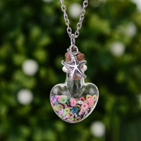 Wholesale Necklace Vial Heart - Wishing Bottle Necklace Drift heart bottle pendant mini cork stopper clear glass bottles vials decorative container storage pendant