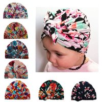 Wholesale Kids Bunny Hats - 2017 Ins Baby Bow Hat Bunny Ear Caps 7 Style Turban Knot Headwrap Hats Girls Infant India Hats Kids Autumn Winter Beanie