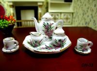 Wholesale Dolls House Tea Set - 8pcs set Dollhouse Miniature China teaware Furniture Toys Accessories Mini Porcelain Coffee Tea Cup pot dish for 1:12 doll house model gift