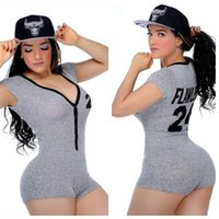 Wholesale Led Jumpsuits - Sexy V Lead T Mini Short Sleeve Gray Pants Best Sellers Europe Station Goods In Stock Sale Jumpsuit Plus Size Amp Rompers
