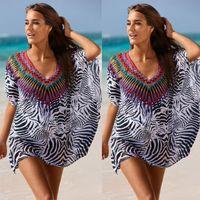Wholesale Leopard Chiffon Blouse Cardigan - Women Chiffon Shawls Leopard Batwing Sleeve Floral Beach Cardigan Blouse Wrap Swimwear Covers up Loose Shirts Free shipping