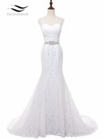 d4edee1bbc4f Solovedress Foto reali Elegante Sweetheart Chapel Train Mermaid Abito da  sposa in pizzo 2018 Abito da sposa Prezzo all ingrosso economico W001