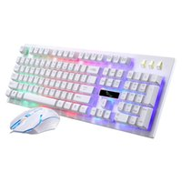 Wholesale Luminous Backlit Keyboard - Keyboard Changeable LED with Color Luminous Backlit Multimedia Ergonomic Gaming Keyboard and Mouse Set for Game computer
