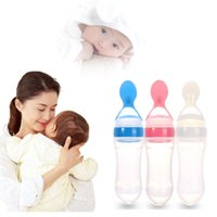 Wholesale Feeding Babies Rice - Hot Selling Infant Silicone Weaning Tableware Baby Feeding Bottle With Spoon Squeeze Food Rice Cereal Feeding Bottle