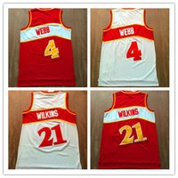 Men spud webb jersey - Throwback Dominique Wilkins Jersey Spud Webb basketball Jersey Retro Rev New Material High Quality Mix Order