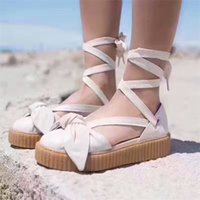 Wholesale Cheap White Platform Sandals - Cheap Women's Bow Creeper Sneaker Sandals From Fenty X Rihanna Lace Up Sandal Sneakers Leather rubber Beige Silver Natural Sandals Platform
