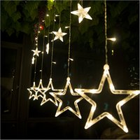 Wholesale Star String Lights Window - 8W 138 LEDs 2m 6.6ft Fairy Star Light 12 Stars Window Curtain String Light Fairy Wedding Led Icicle Light Christmas Party Decoration