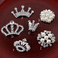 Wholesale hair accessory crafts - DIY Crown Round Snow Flower Metal Rhinestone Pearl Buttons for Craft Flatback Crystal Decorative Buttonss for Hair Accessories DRP01