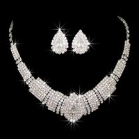 Wholesale Good Quality Crystal Earrings - wholesale Jewelry Sets Earrings With Necklace For Wedding Bridal 2017 New Arrival Good Quality Bridal Accessories 2017